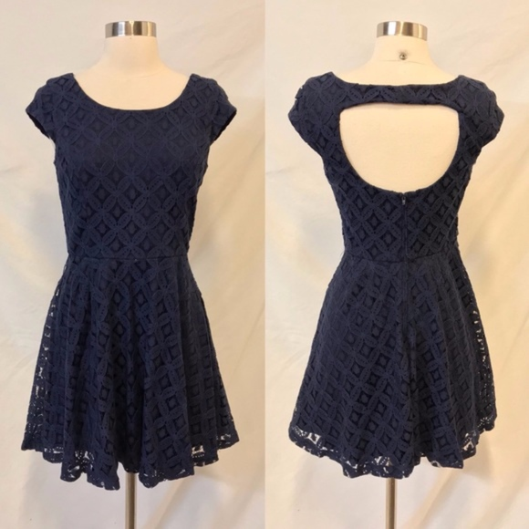 6bf0c61d9b BCX Dresses   Skirts - BCX Juniors Navy Blue Lace Cap Sleeve Mini Dress